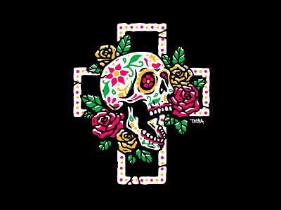 Sugar Skull illustration vector dead mexico candy sugar death flower cross skull
