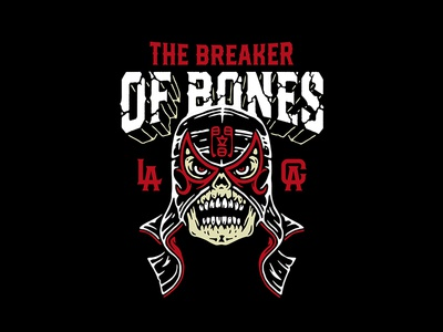Pentagon Dark mask skull bones break pentagon luchador lucha libre illutration vector
