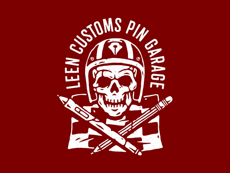 Leen Customs helmet flag creativity design race garage pin custom racing skull illustration vector