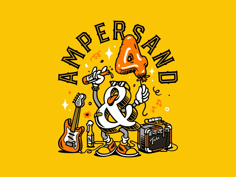 Ampersand Bar character party beer years balloon food pizza bar music rock ampersand vector illustration