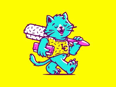 Linty Cat linty cut happy walking animal cat print silk screen mascot illustration vector