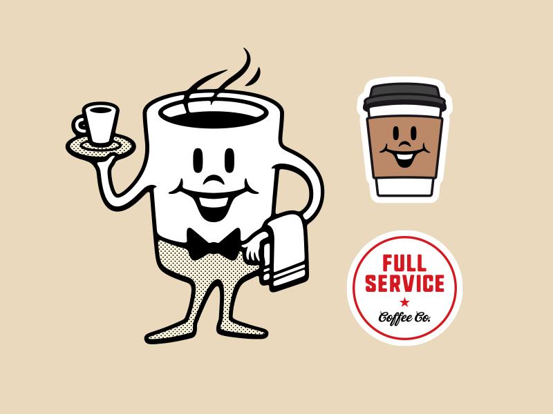Full Service drink service retro happy smile gas station vintage coffee mascot illustration vector