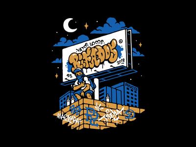 Rifados bombs illustration vector night spray locos vatos graffiti