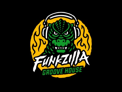 Funkzilla flames funkzilla groove records music godzilla logo illustration vector