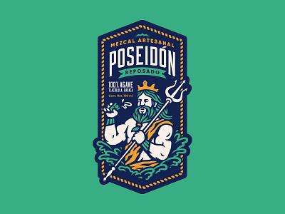 Mezcal Poseidon branding brand crown agave drink mexico mezcal illustration vector king ocean sea poseidon god greek