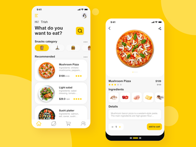 This is the homepage and detail page of a group of food apps, app branding typography 点餐 美食 应用程序 ui design