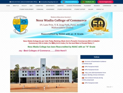 Ness Wadia College of Commerce Website webdesign seo php html5 css3 codeigniter bootstrap ajax