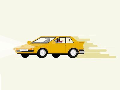 Stirnbandfahrer headband driver yellow sportscar