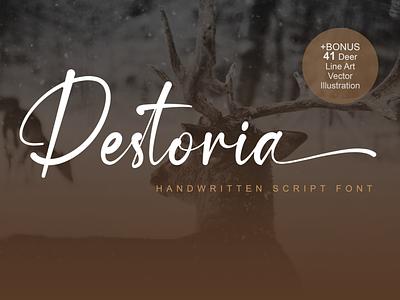 Destoria Handwritten Font logo fonts illustration vector calligraphy typeface typography handlettering design branding