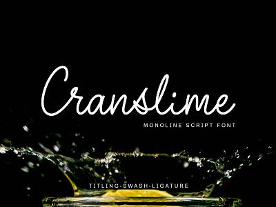 Cranslime Monoline Script Font typography logo branding typeface handlettering calligraphy design fonts monoline monoline font