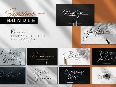 Signature Font Bundle logotype monoline handlettering fonts typeface signature font design branding