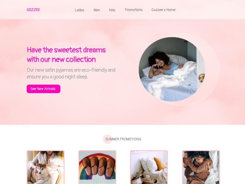 Pyjama's e-commerce pink ecommerce minimal web ui ux