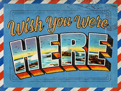 Wish You Were Here • Key Art stamp travel beach mail post card vintage