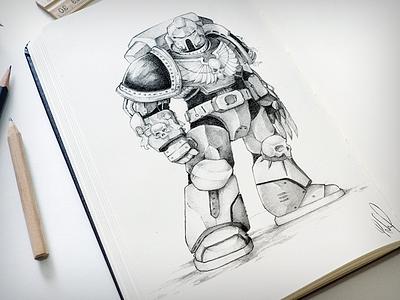 Ticket to the warp warhammer 40k spacemarine draw illustration sketch