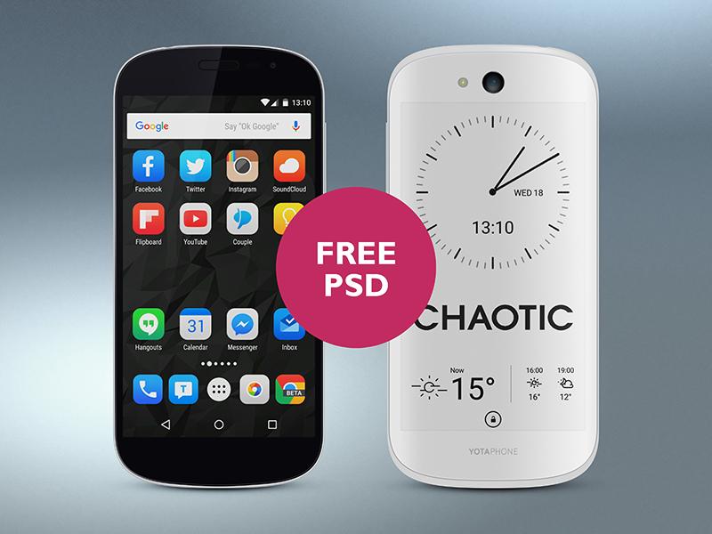 Yotaphone 2 White PSD free phone psd gloss lighting texture gradient realistic e-paper yotaphone device mobile