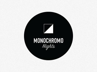 Monochromo Nights Branding monochrome party hotel white black icon brankmark brand logo
