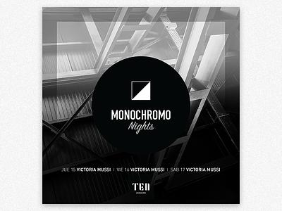 Monochromo Nights Flyer logo brand brankmark icon black white hotel party monochrome