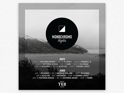 Monochromo Poster logo brand brankmark icon black white hotel party monochrome