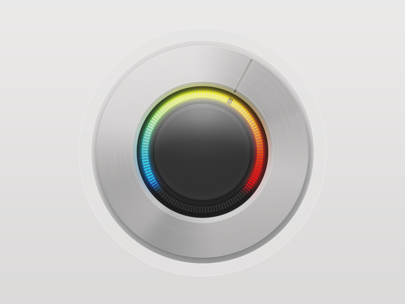 Thermostatic Dial (round two) metal brushed thermostat thermometer temperature soft rainbow radial knob home heat gradient dial controller navigation app interface ui texture iphone