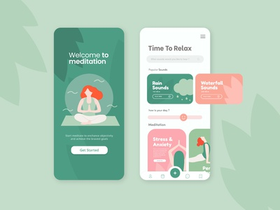 Meditation Mobile Application UI Design relaxing app relaxing yoga ux graphic design design vector illustration ill ui app meditation mobile app