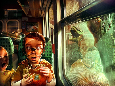 Uh Oh! digital composite train dinosaur drama istock photoshop photo manipulation illustration matte painting