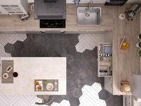 Ikea kitchen: top view