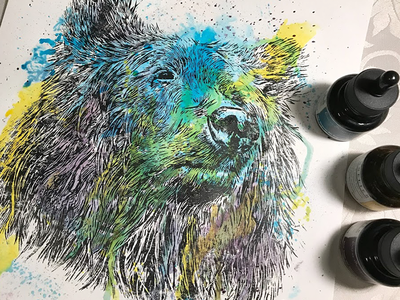 Bear and Ink Linocut