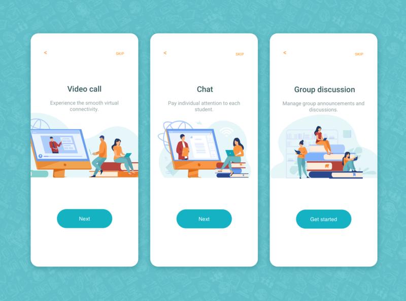 Virtual Classroom virtual class online study online teaching meet flatdesign group chat video call videocall chat app chatapp ux ui design