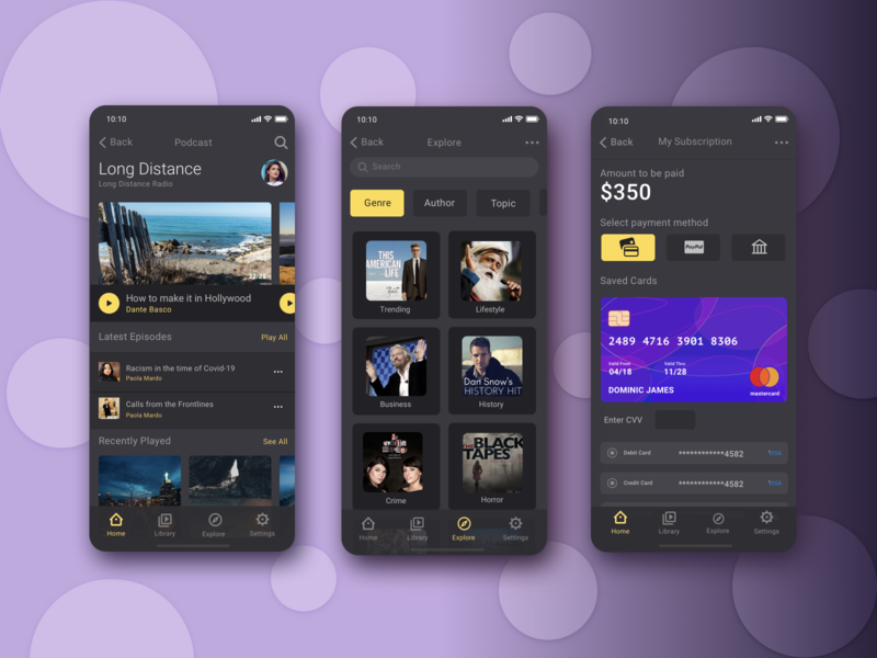 Podcast App subscription black theme mobile app music podcast streaming ios app design simple clean interface clean ui dark theme podcast app design ux ui