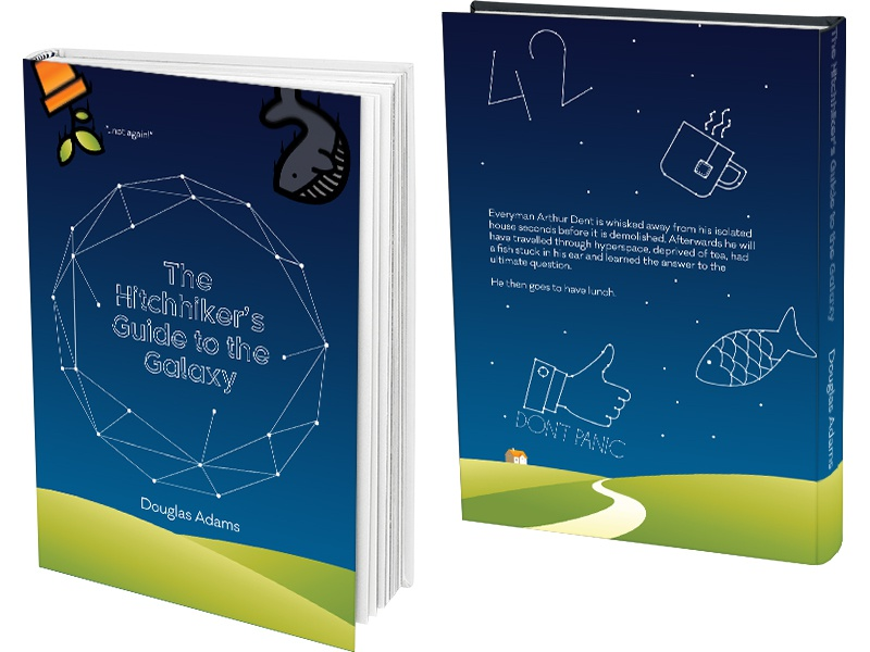 Book Cover Design Guide : The hitchhiker s guide to galaxy book cover design by