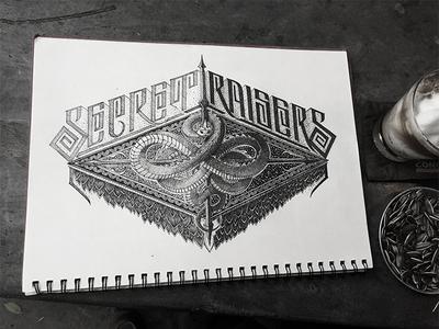 Secret Raiser hand lettering illustration drawing goodtype biksence biks handlettering logotype calligraphy typography lettering