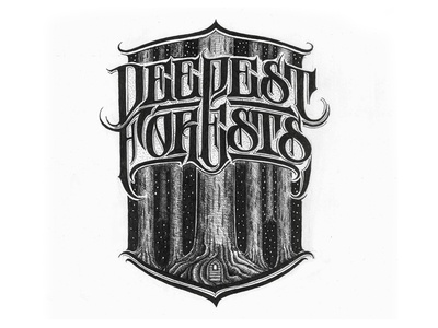 Deepest forest logo. lettering typography logotype biksence