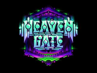 Heaven Gate futuristic custom textlogo biks logo. lettering typography logotype biksence