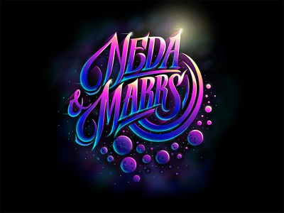 Neda new colors custom textlogo biks logo. lettering typography logotype biksence