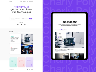 Personal website for Charly Poly design system typography developer personal minimal web design webdesign web website