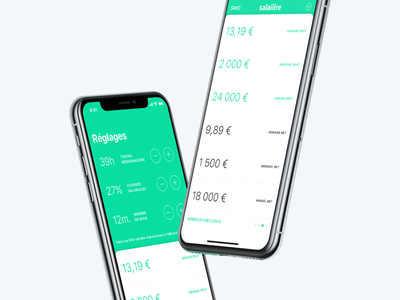 Salaiiire - Convertir plusieurs salaires bruts en salaires nets clean green finance salary salaire french iphone minimal app ios