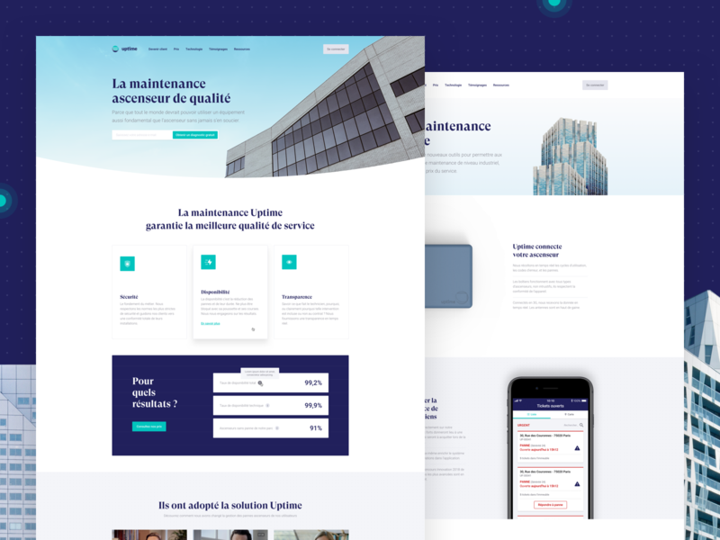 Uptime 🏙 redesign startup elevator architecture minimal webdesign art direction