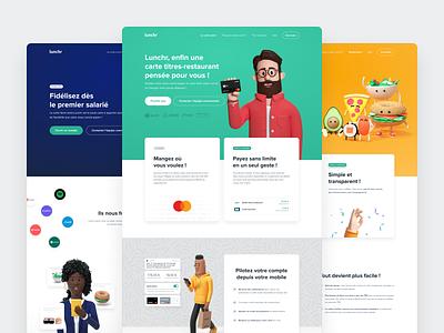 Lunchr - New website 🚀 food foodtech 3d illustration 3d illustration frenchtech startup minimal art direction webdesign lunchr