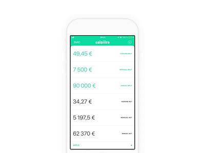 Salaiiire - Taux du prélèvement à la source green minimal app store application brut net convert conversion calcul salaire salary france ios app new
