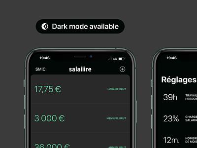 Dark mode is here on Salaiiire! 🌒 ux ui work night iphone salaire green dark minimal app salary ios dark mode