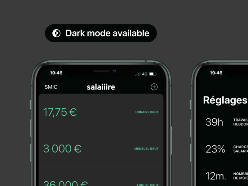 Dark mode is here on Salaiiire! 🌒 ux ui work night iphone salaire green dark minimal app salary ios dark mode