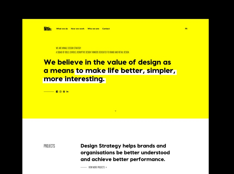 New website for Minale Design Strategy datocms development web design black white yellow web art direction webdesign