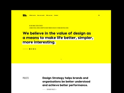 New website for Minale Design Strategy datocms development web design black white yellow web art direction webdesign