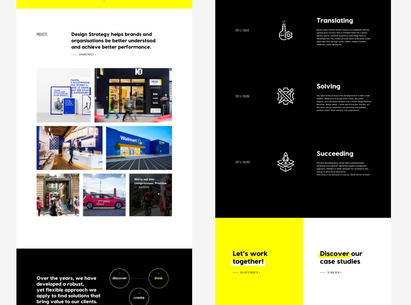 Part 2 • New website for Minale Design Strategy datocms development art direction redesign brand agency black white yellow minimalist web design website