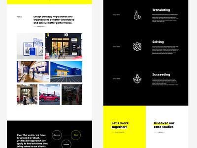 Part 2 •New website for Minale Design Strategy datocms development art direction redesign brand agency black white yellow minimalist web design website