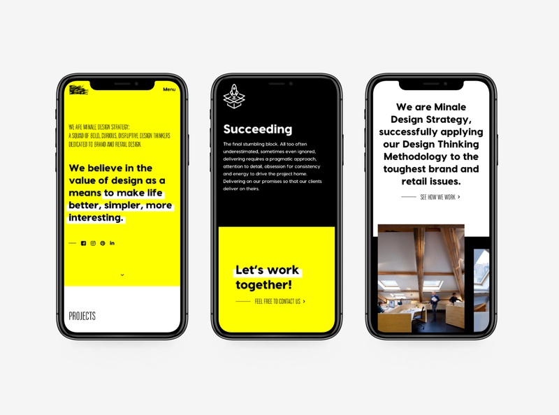 Part 3 • New website for Minale Design Strategy datocms development art direction black white yellow agency brand redesign webdesign web design new website