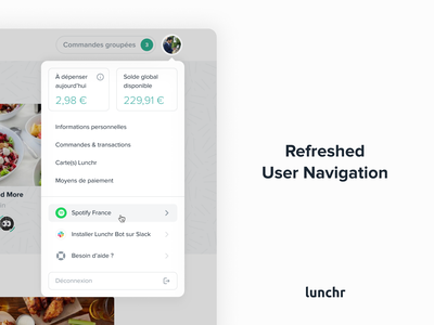 Lunchr User Navigation Concept admin white interface design ux ui service minimal clean menu user navigation