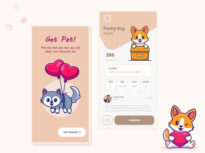 Pets Adoption App design figma ui aplication ui app ui mobile cute app pet app xd design application design application ui illustrator mobile app uiux illustration ui graphic design design