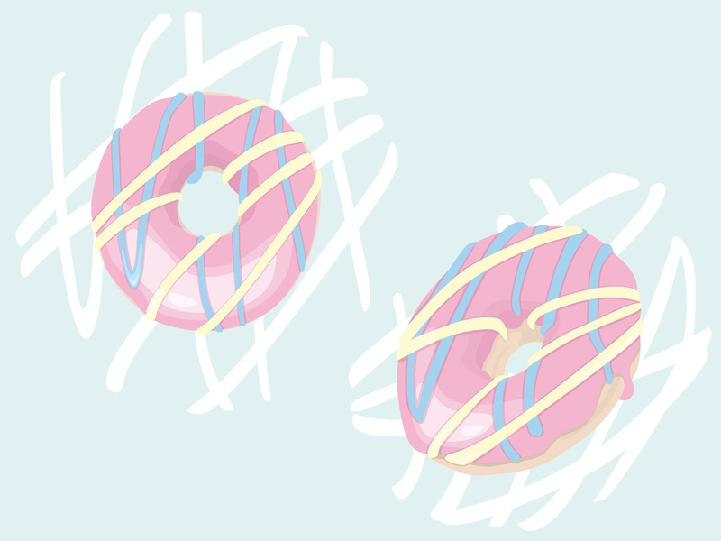 Pink donut food illustration donut sweet food vector flat illustration