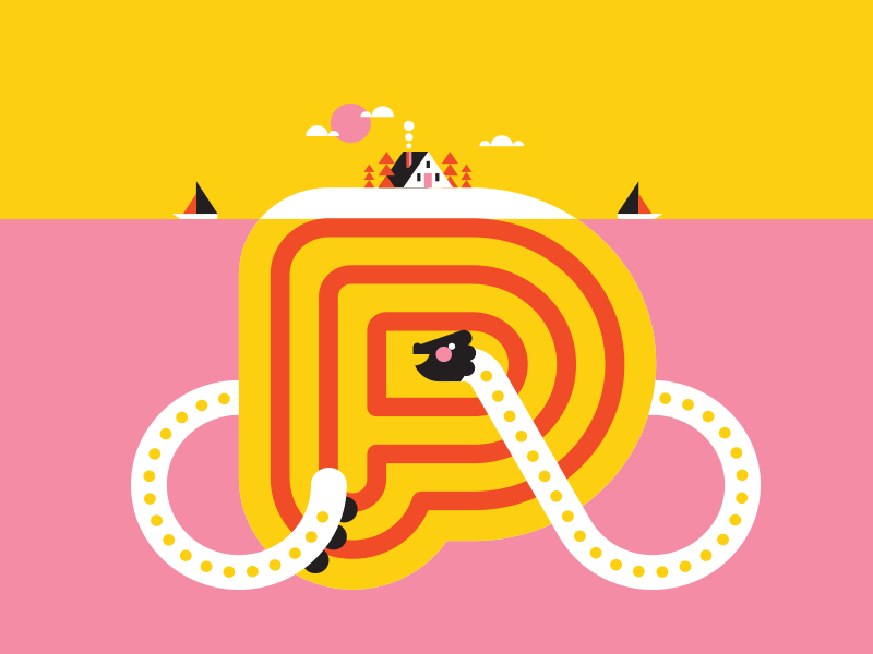 Master P / Alaina Kay yellow pink push creature seamonster island graphic house ocean boat water dragon p